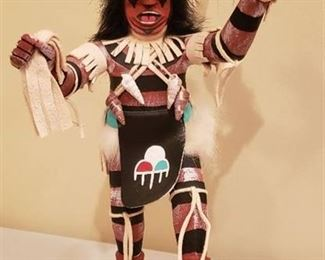 Native American Clown Kachina Doll by H. Largo - 12 in. tall