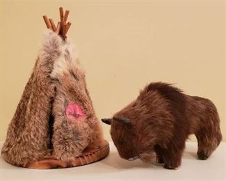 Lot of Original Hide Buffalo Figurine (8 in. x 3 in. x 5 in.) and Indian Tepee (Rabbit Fur) - 10 in. tall
