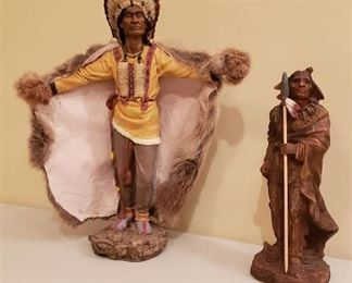 Lot of 2 Native American Indians Figurines - made out of Resin: The Tall one - 17 in. tall