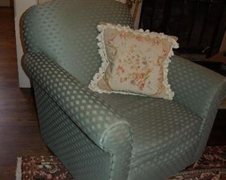 One of pair of upholstered chairs