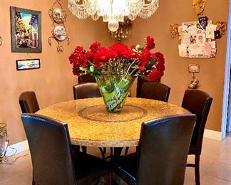 Mosaic round dining table and dining chairs