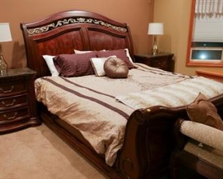 Bedroom set - bed, box spring, quality king size mattress, end tables, settee, and dresser - $1,500