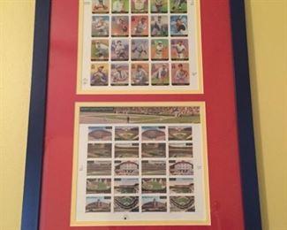 Framed postage sheets.