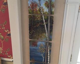 Four-piece original panel with birch tree.