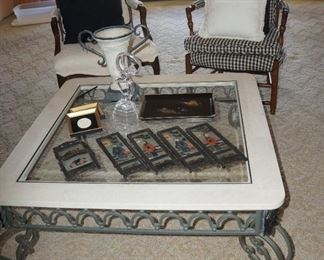 Pretty metal, stone and glass coffee table