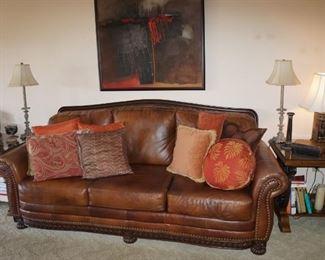 Pretty leather sofa.