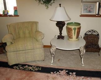 Stone and metal table with nice upholstered side chair.  Table is SOLD.