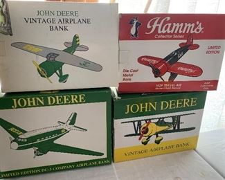 John Deere Vintage Airplane Banks and Hamm's Collector Series 1929 Travel Air die cast metal bank
