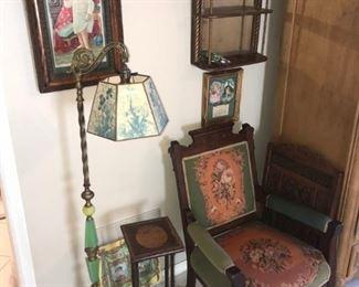 east lake chair, 1920s jade floor lamp