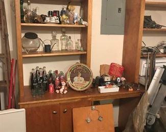 vintage assorted coke bottles, avon bottles, pencil sharpeners and a few antique bottles.