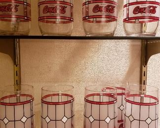 """Vintage Coke """"stained glass"""" tumblers. Set of 12"""