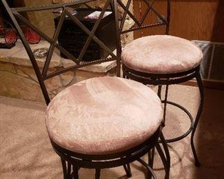 Iron/micro-fiber bar stools (pair)