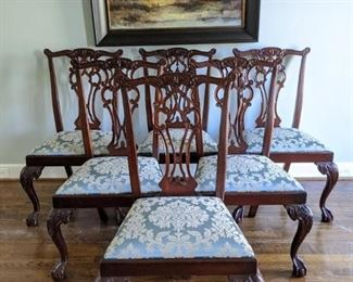 Set/6 Hickory Chair Chippendale style, hand carved mahogany side chairs, with Schumacher fabric.