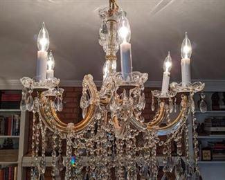 6-light cut crystal chandelier.