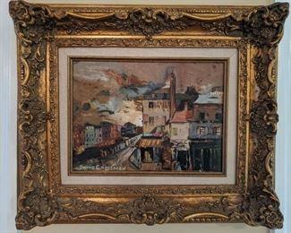 "Well-framed/matted original oil on canvas, by David Crossman, ""Paris, 1960""."