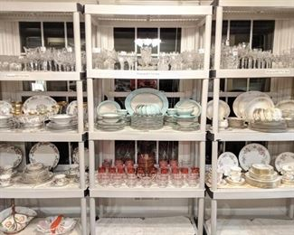 Loads of china, cut crystal stemware, including American Brilliant Cut Glass stemware.