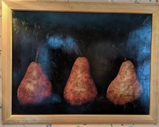 """Nicely framed """"Three Pears"""" encaustic, by Maggie Hasbrouck, 1994."""