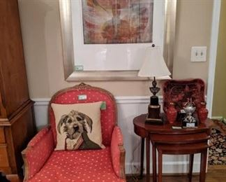 Each of the French bergere chairs has its own Belgian tapestry, down-stuffed dog pillows - get 'em while they're hot! Also, a nice collection of Asian cinnabar.