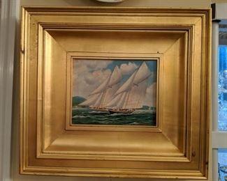 Lovely framed original oil on canvas, sailing ship in the harbor.