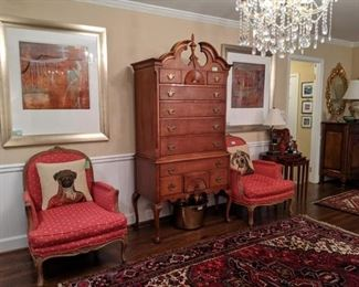 Nicely framed/matted, artist signed pair of contemporary oils, another shot of the pair of French bergere chairs, and the classic White Furniture Co. bird's eye maple highboy.