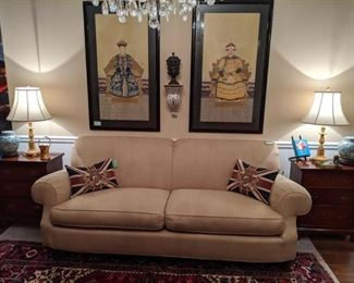 Pristine down-filled sofa, by Milling Road (the upholstery division of Baker Furn. Co.), pair of down-filled Union Jack Belgian tapestry pillows, pair of hand painted, nicely framed Chinese ancestors.
