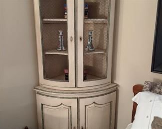 LOVE this 2-piece French corner cabinet, with wire door fronts.