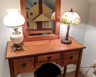 Vintage pine desk, with matching wall mirror, gone with the wind table lamp and reverse painted glass shade table lamp/.