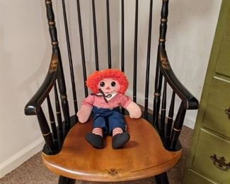 Here's her hot date, Raggedy Andy, just a swingin' in his handsome L. Hitchcock rocking chair.