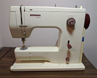 """Swiss Miss! Yep, here she is, a vintage Bernina """"Minimatic"""" sewing machine, with original instruction manual, thread, table and carrying case."""