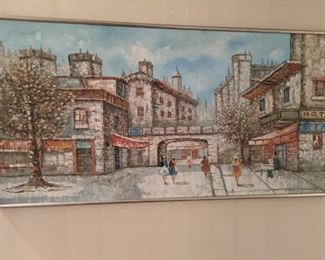 Nicely executed original oil on canvas, of MCM European street scene.