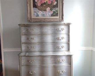 Matching silver-leafed 6-drawer chest of drawers and original oil on canvas, by Judy Anderes.