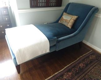 Blue velveteen chaise lounge, by Councill Furn. Co., Davidson, NC.