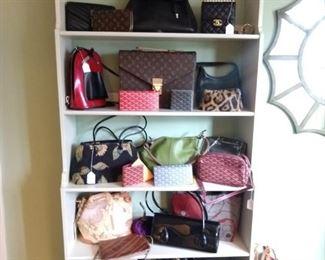 Lovely designer handbags, including vintage ocelot fur pillbox hat!
