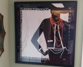 Nicely framed authentic Chanel silk scarf.