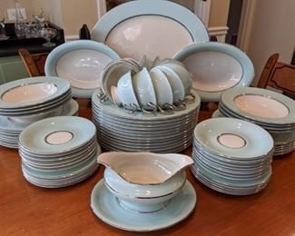 """Stunning 55-piece set of Castleton """"Turquoise"""" Tiffany blue china, by Interpace, 1954-1972."""