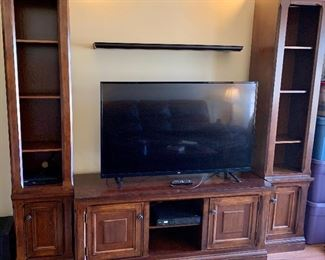 "3 Piece Cherrywood Entertainment Center - only 2 years old 2 narrow Shelf/cupboard pieces $125 ea TV STAND $185 LG 55"" TV $265 Complete 3 pc set $425 Cash only"