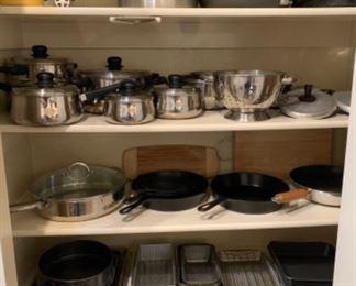 Assortment of cast iron skillets, pots & pans