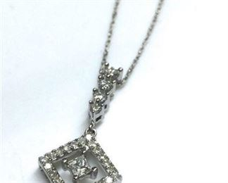 8. 14K WHITE GOLD 13ct DIAMOND PENDANT NECKLACE