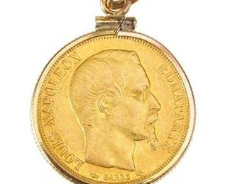 9. 1852 20 FRANCS GOLD COINPENDANT
