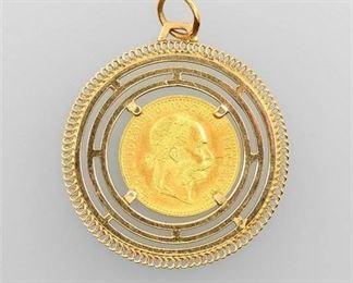 10. 1915 Austria Gold 1 Ducat Official Restrike Coin Pendant
