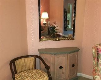 Ornate Mirror, Wooden Accent chair, foyer table