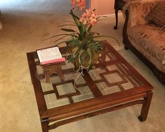 wooden and glass square coffee table