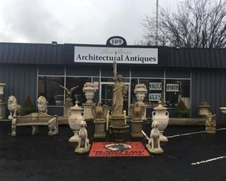 Dozens of pieces of statuary, fountains, urns and other garden decor.