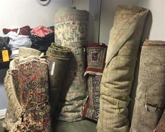 Some of the 25 hand knotted Persian rugs to be sold. Palace size, room size, area rugs and runners.