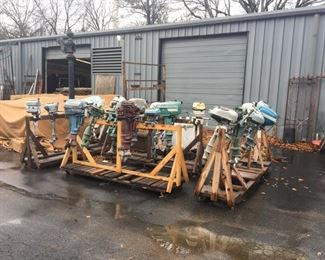 Collection of vintage outboard motors to be sold.