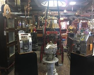 Slot machines, barber pole, many other collectibles.