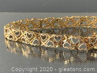 X & O Tennis Bracelet in White & Yellow Gold