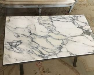 French style coffee table marble top iron feet