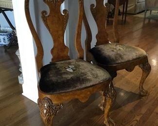 Pair of Antique English burl maple chairs purchased at Clements in Destin.