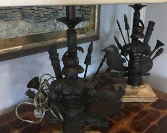 Pair of lamps militaria
